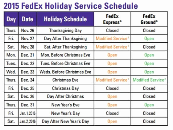 Fedex Holidays Schedule 2019 Inspirational Fedex Holiday Schedule 2016