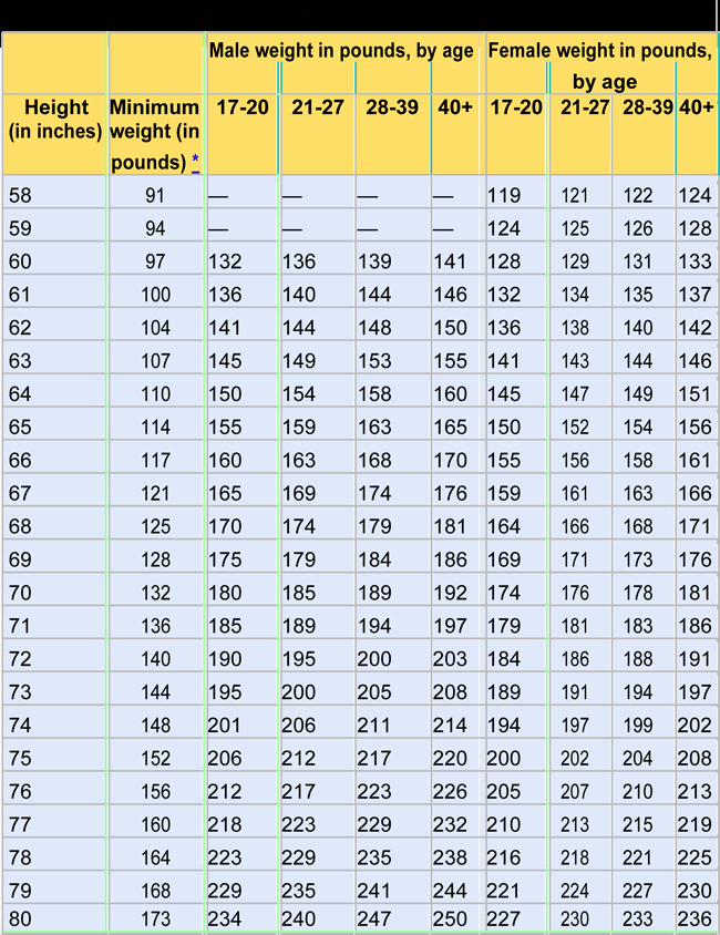 Female Height and Weight Chart Best Of Army Height and Weight Chart Samples