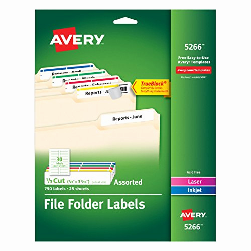 File Folder Label Template New Avery File Folder Labels In assorted Colors for Laser and