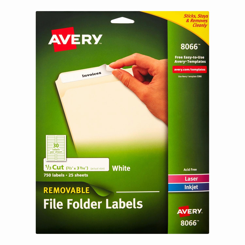 File Folder Label Template Unique Avery File Folder Labels White 0 67 X 3 44 In White