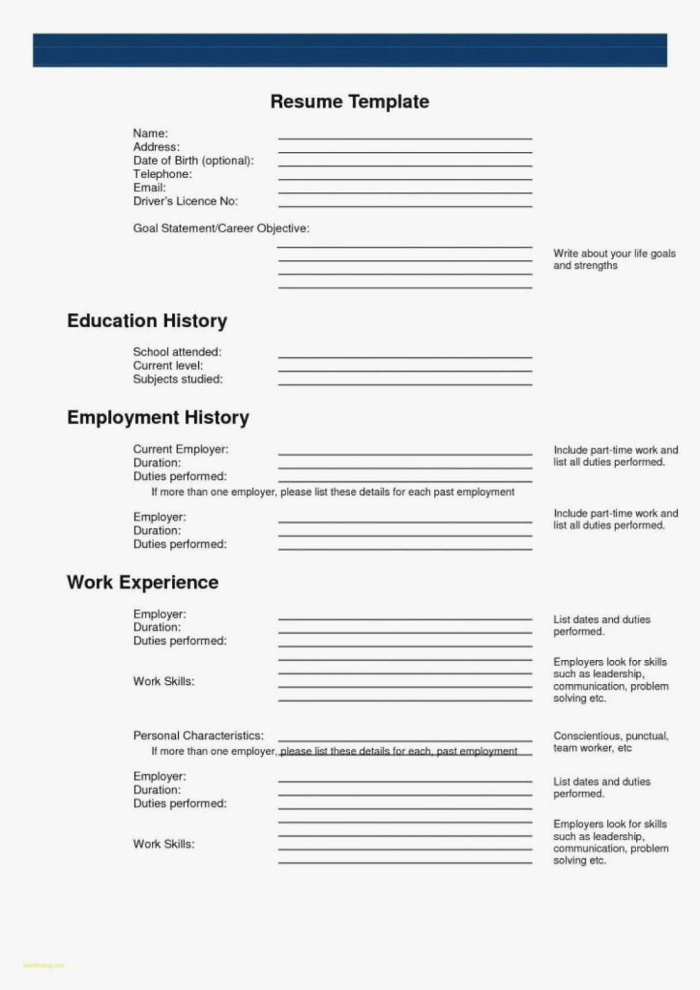 Fill In the Blank Resume Awesome 15 Printable Resumes to Fill Out Rituals