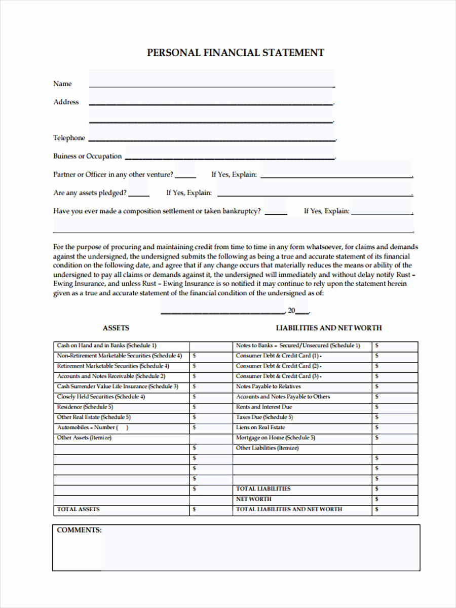 Fillable Personal Financial Statement Lovely 6 Personal Financial Statement form Sample Free Sample