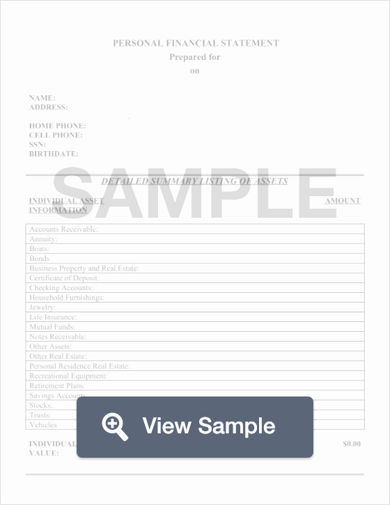 Fillable Personal Financial Statement Lovely Personal Financial Statement Template