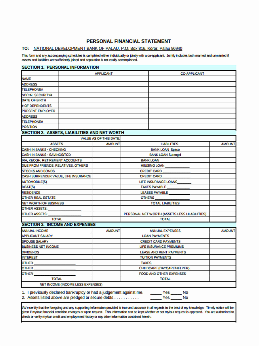 Fillable Personal Financial Statement Luxury 6 Personal Financial Statement form Sample Free Sample