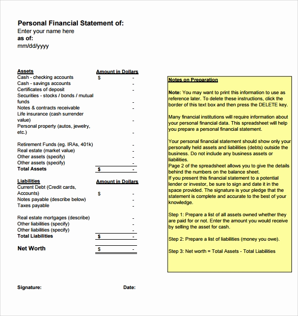 Fillable Personal Financial Statement New Personal Financial Statement Templates 15 Download Free