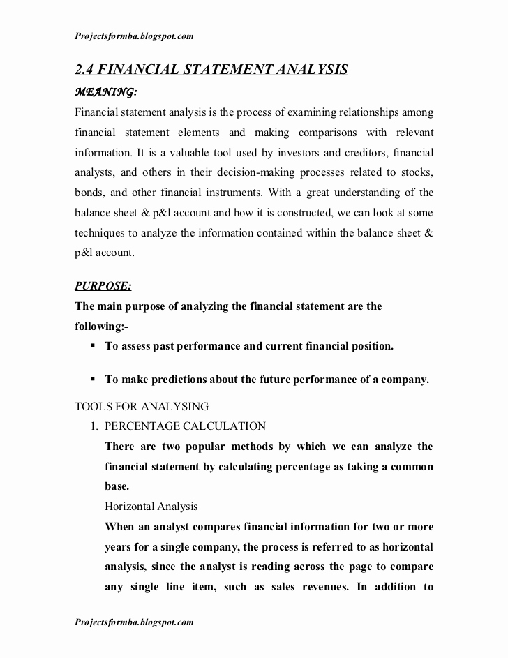 Financial Statement Analysis Example Elegant A Project Report On Analysis Of Financial Statement Of