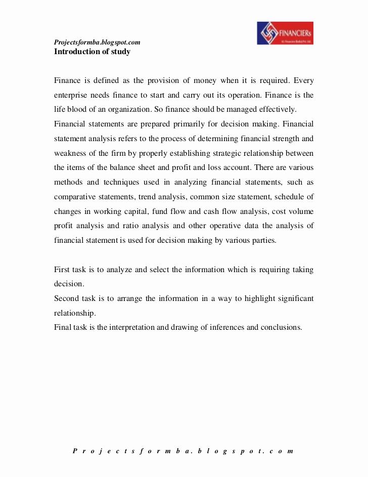 Financial Statement Analysis Example Elegant A Project Report On Financial Statement Analysis