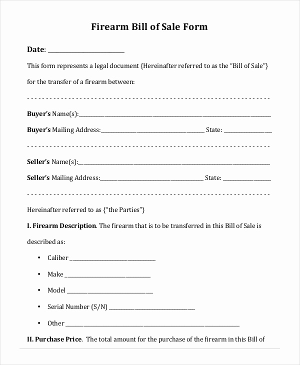 Firearm Bill Of Sale Florida Awesome Printable Blank Bill Of Sale Template 9 Free Word Pdf