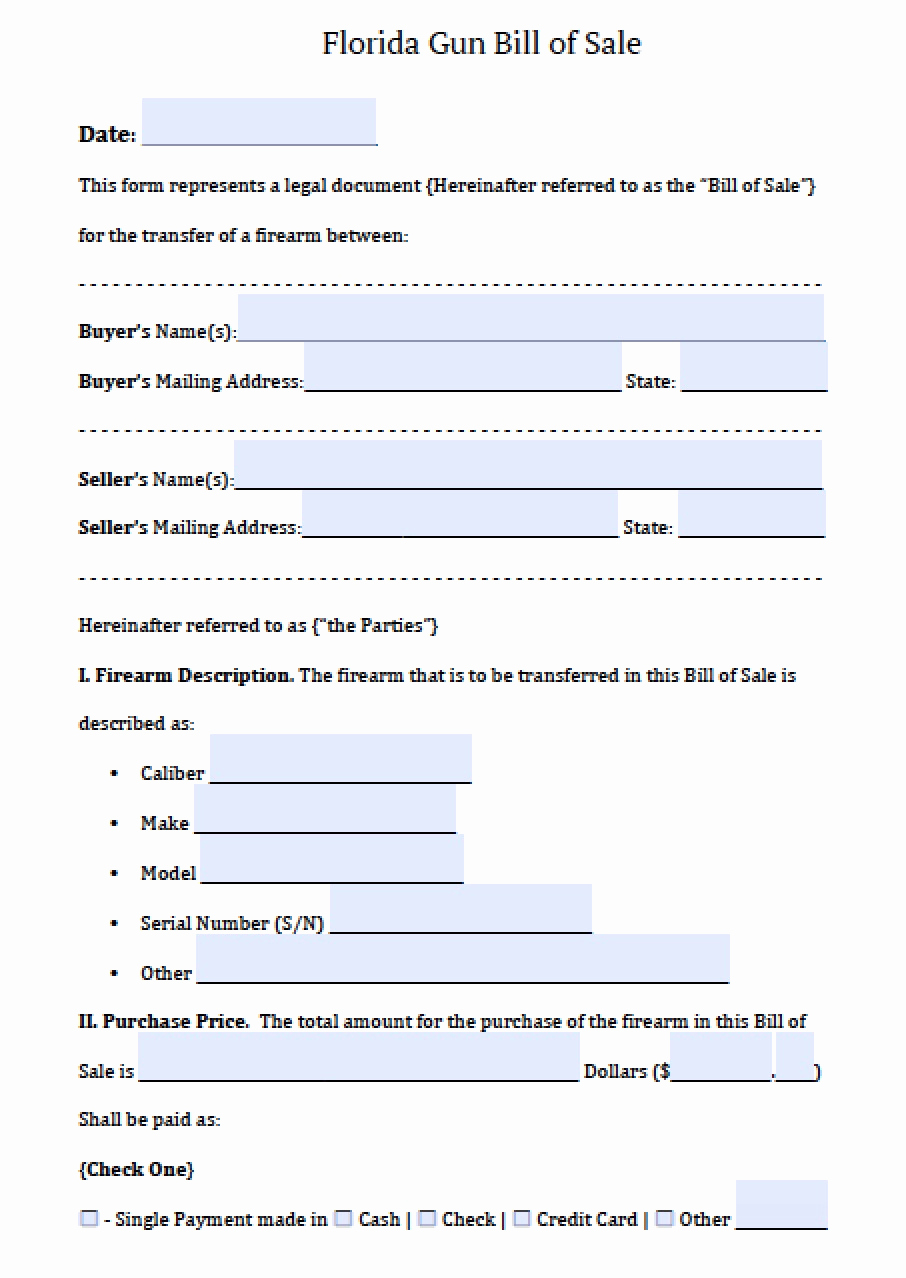 Firearm Bill Of Sale Florida Luxury Free Florida Firearm Bill Of Sale form Pdf
