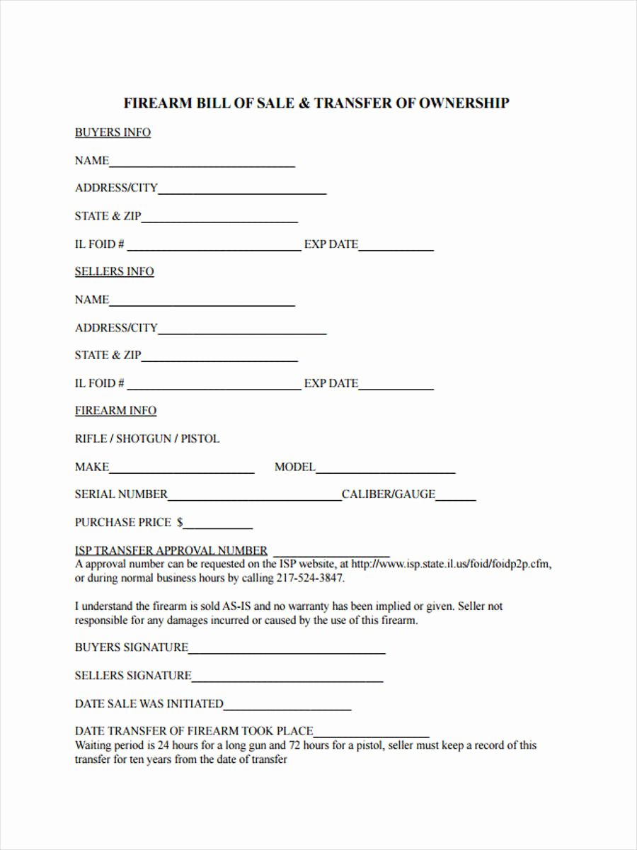 Firearm Bill Of Sale form Awesome 6 Firearm Bill Of Sale form Sample Free Sample Example