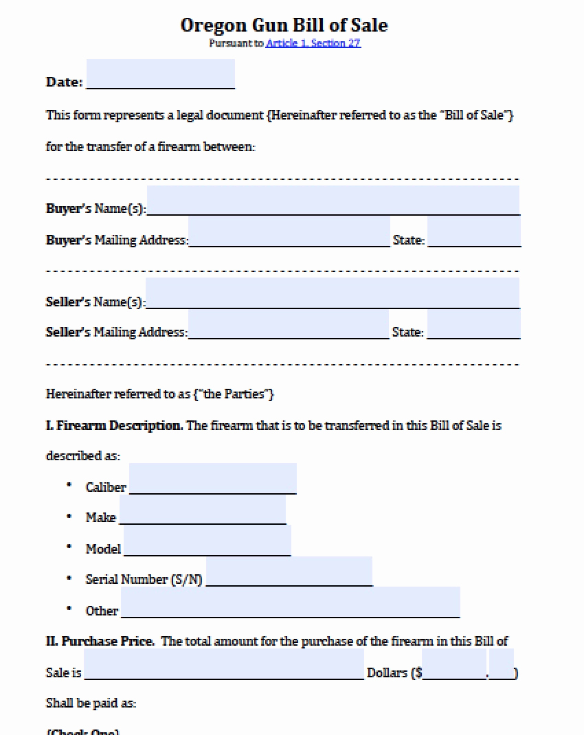 Firearm Bill Of Sale form Beautiful Free oregon Firearm Gun Bill Of Sale form Pdf