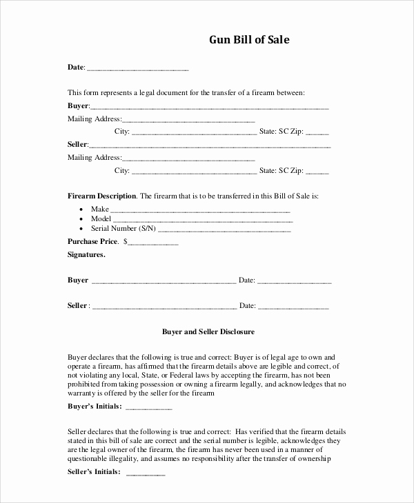 Firearm Bill Of Sale form Beautiful Sample Bill Of Sale form 9 Examples In Pdf Word