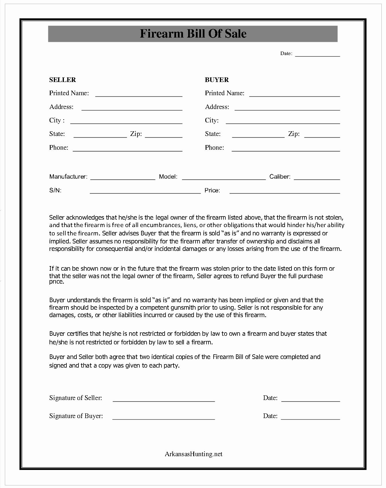 Firearm Bill Of Sale form Elegant Best S Of Easy Printable Bill Sale Free