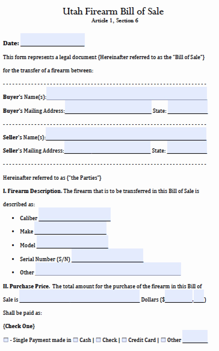 Firearm Bill Of Sale form Elegant Free Utah Firearm Gun Bill Of Sale form Pdf