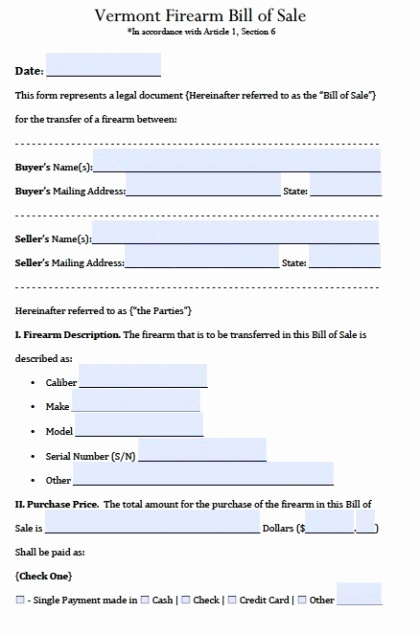 Firearm Bill Of Sale form Fresh Free Vermont Firearm Gun Bill Of Sale form Pdf