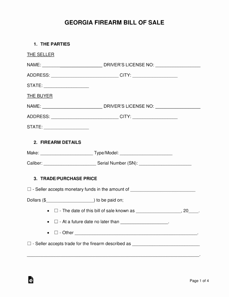 Firearm Bill Of Sale form Inspirational Free Georgia Firearm Bill Of Sale form Word