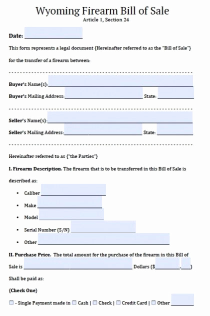 Firearm Bill Of Sale form Inspirational Free Wyoming Firearm Gun Bill Of Sale form Pdf