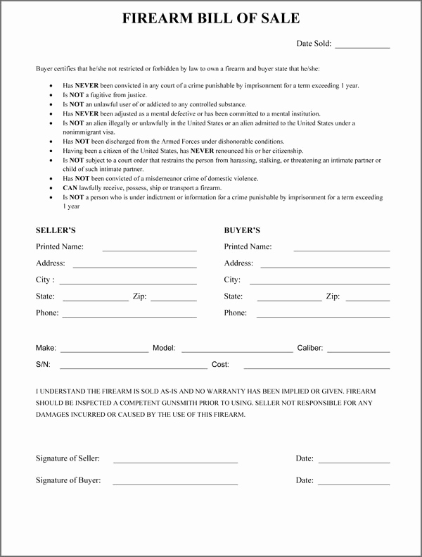 Firearm Bill Of Sale form Luxury Firearm Bill Sale form