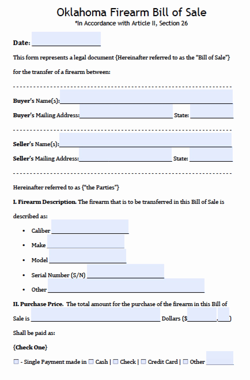Firearm Bill Of Sale form New Free Oklahoma Firearm Gun Bill Of Sale form Pdf