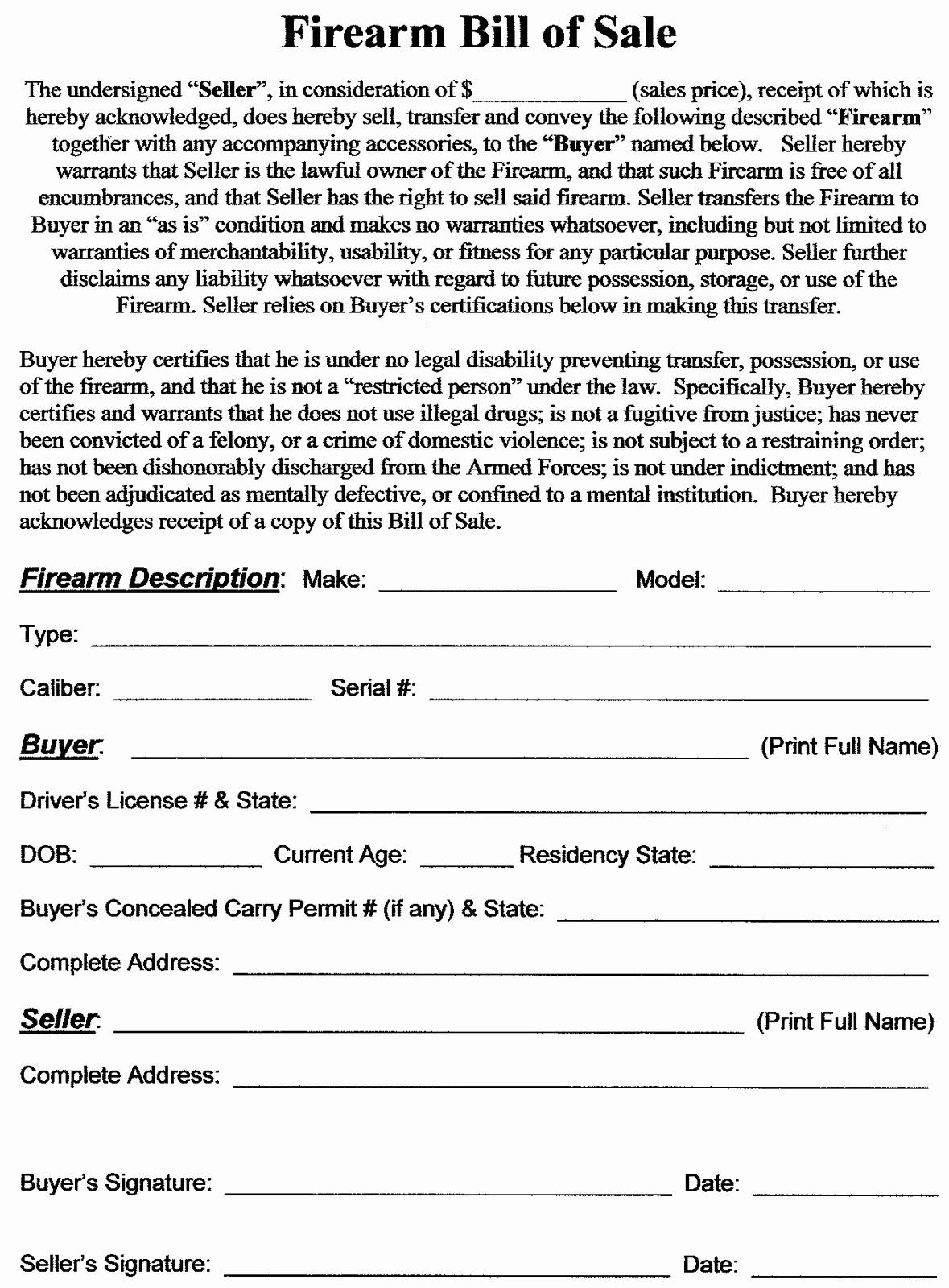 Firearm Bill Of Sale Texas Luxury Firearm Bill Of Sale