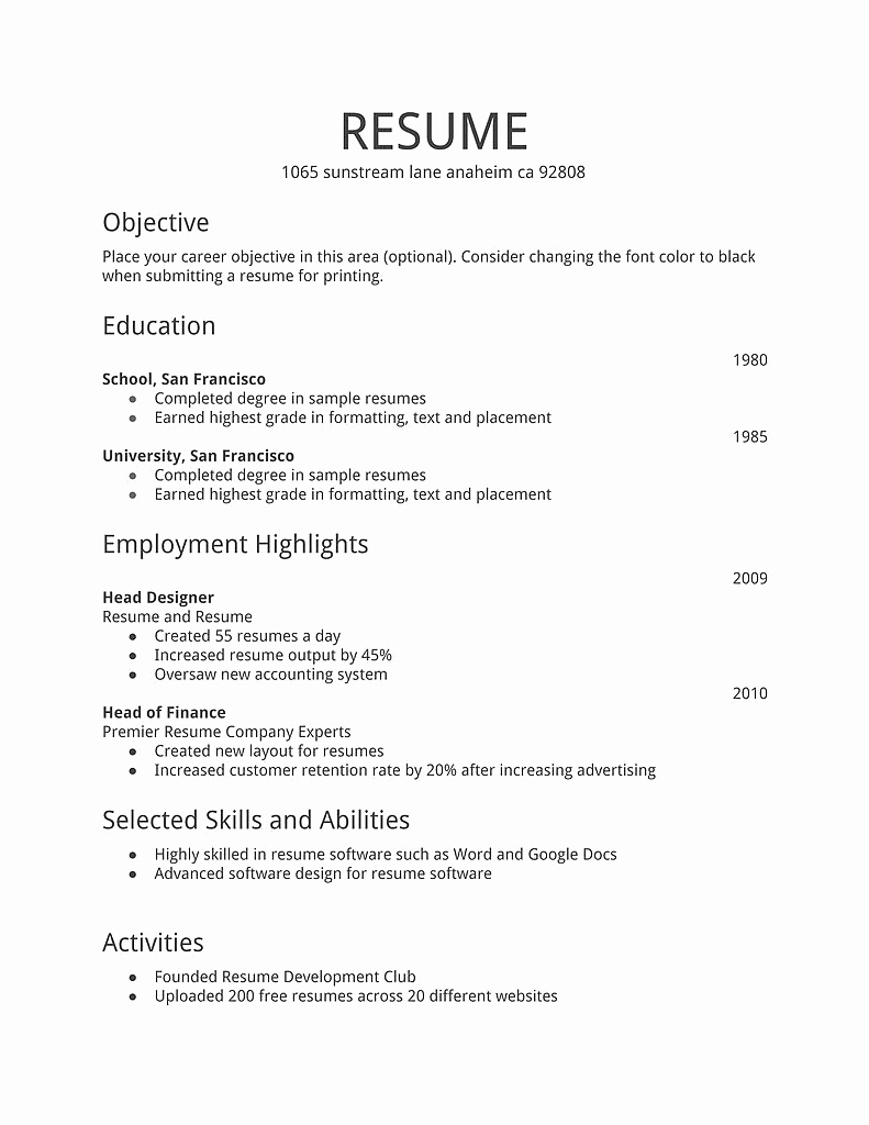 First Job Resume Template Beautiful 14 15 Resumes Examples for Teenagers