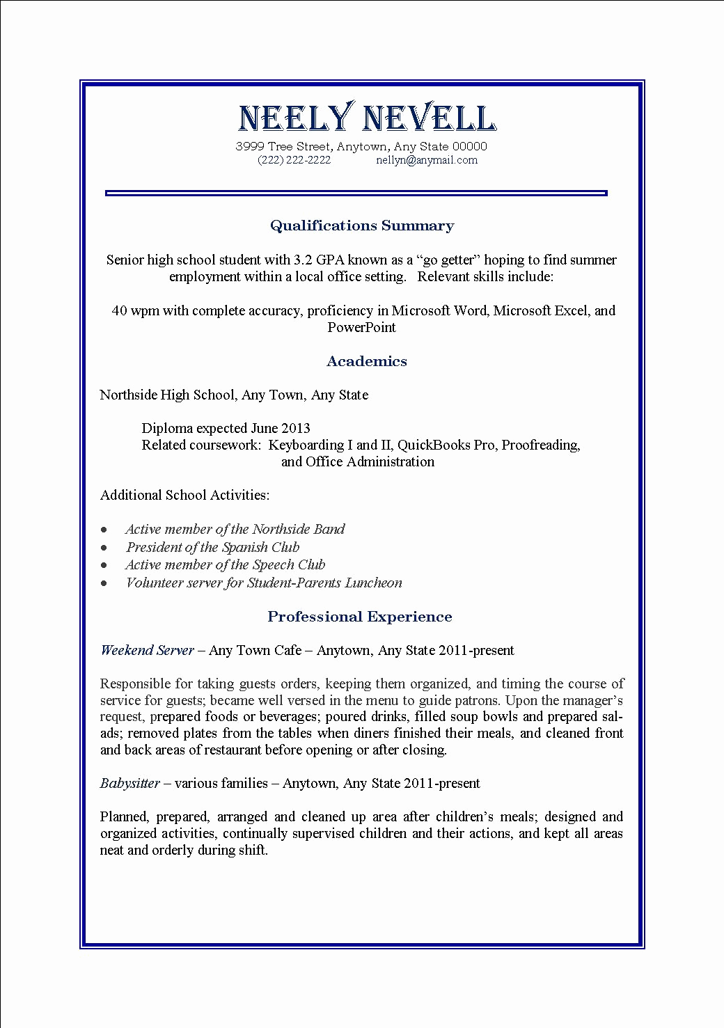 First Time Job Resume Beautiful High School Student First Time Job Resume – Perfect Resume