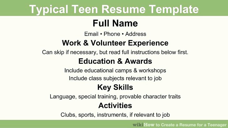 First Time Job Resume Beautiful How to Create A Resume for A Teenager 13 Steps with