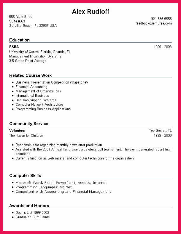 First Time Job Resume Best Of Resume with No Work Experience
