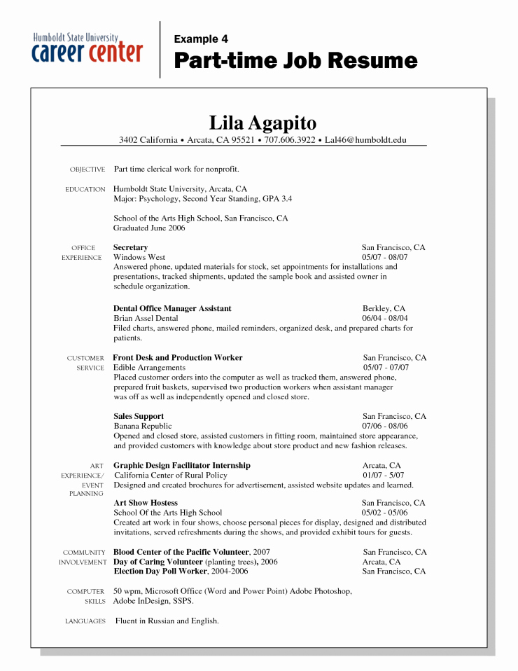 First Time Job Resume Unique Cover Letter Resume Objective Examples Part Time Job for