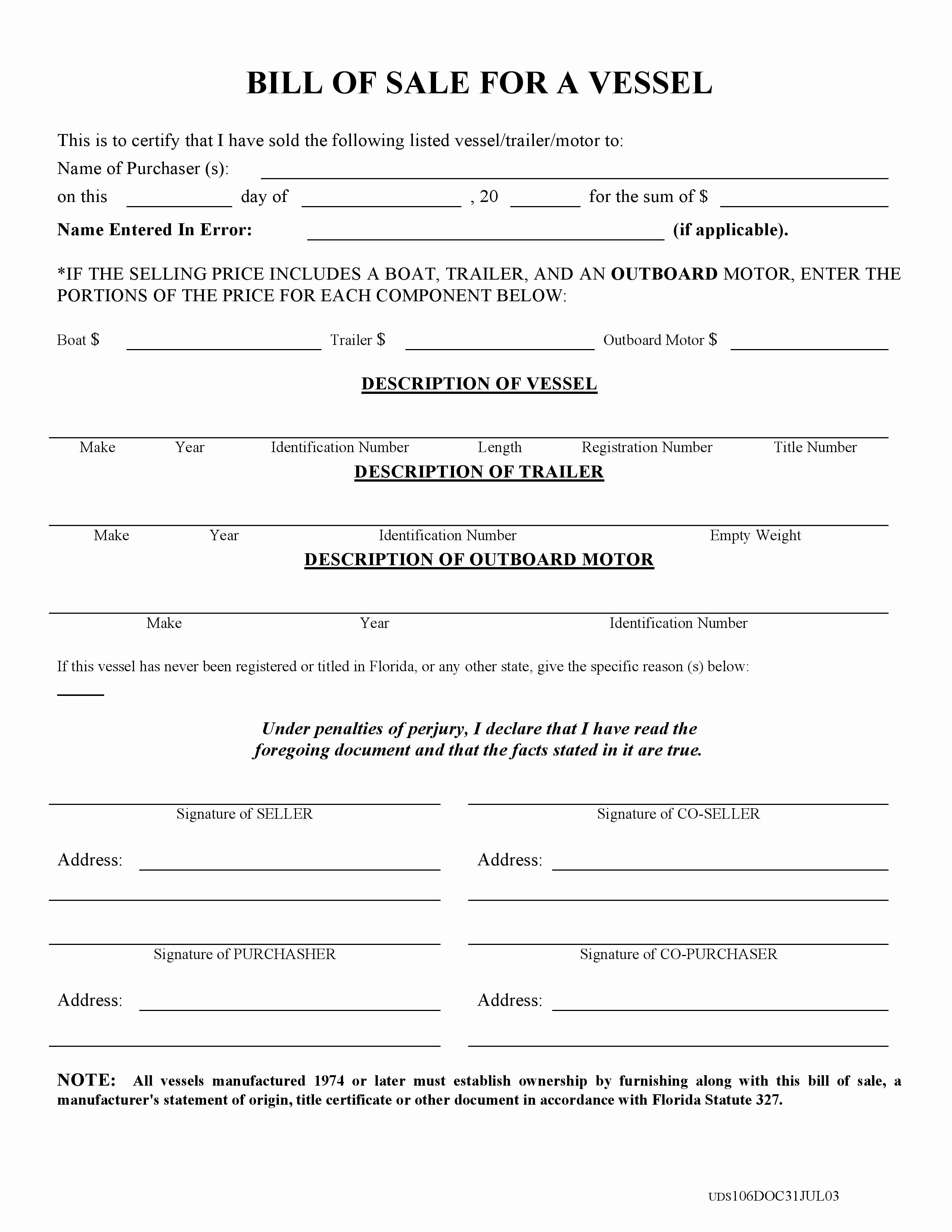 Florida Firearm Bill Of Sale Luxury Free Florida Boat Bill Of Sale form Pdf