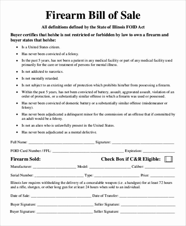 Florida Firearm Bill Of Sale Unique 13 Handgun Bill Of Sale