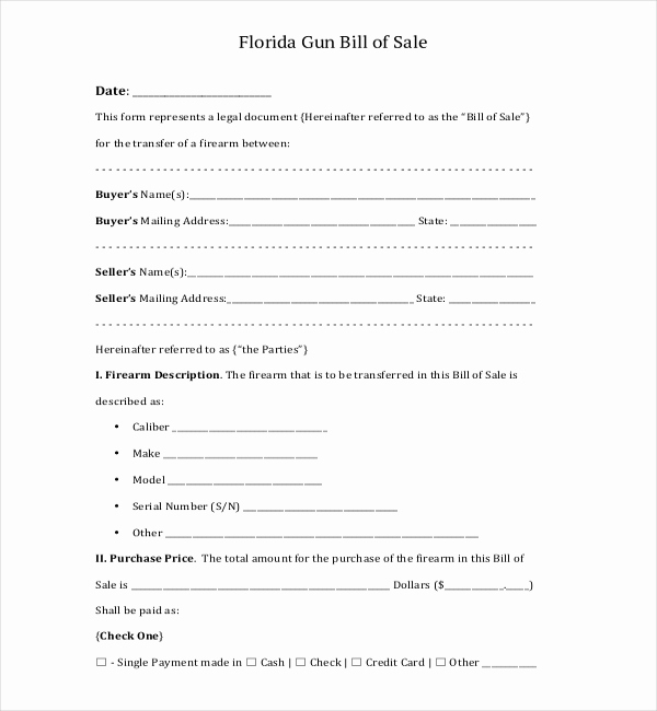 Florida Gun Bill Of Sale Best Of 10 Sample Bill Of Sale for Firearms
