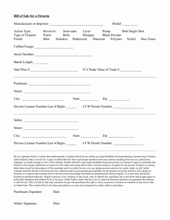 Florida Gun Bill Of Sale Elegant Standard Bill Of Sale form