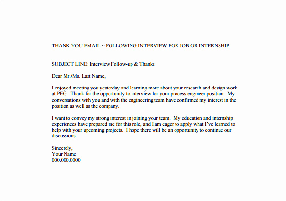 Follow Up Emails after Interview Beautiful 14 Thank You Email after Interview Doc Excel Pdf