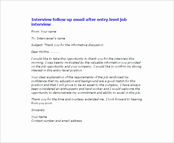 Follow Up Emails after Interview Inspirational 14 Thank You Email after Interview Doc Excel Pdf