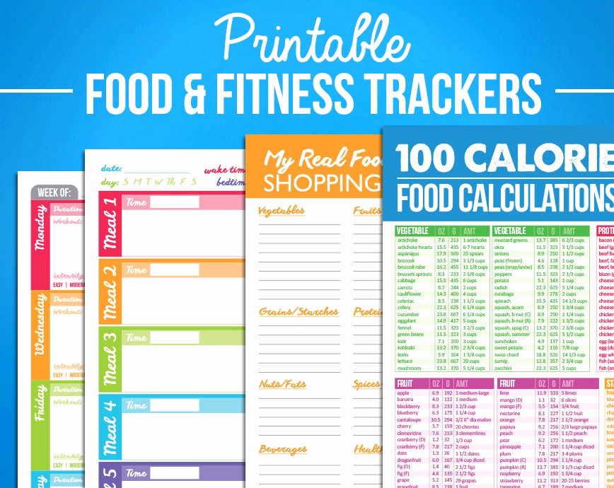 Food Calorie Chart Pdf Awesome Printable Food & Fitness Diary Journal Trackers Digital Pdf