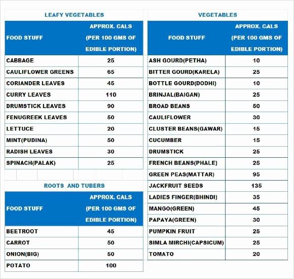 Food Calorie Chart Pdf Inspirational Indian Food Calories Chart Pdf
