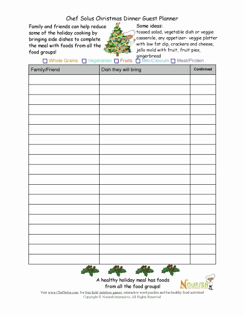 Food Sign Up Sheet Fresh Healthy Holiday Guest Planning Sheet