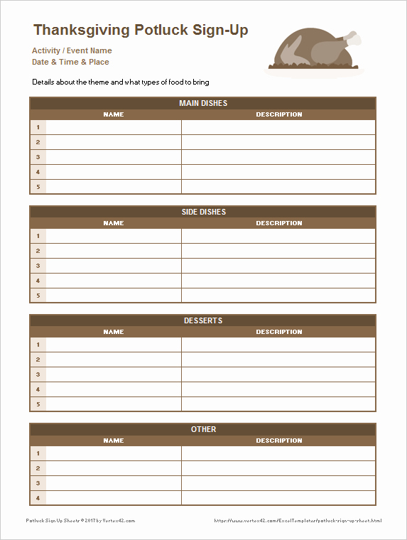 Food Sign Up Sheet Lovely Potluck Sign Up Sheets for Excel and Google Sheets