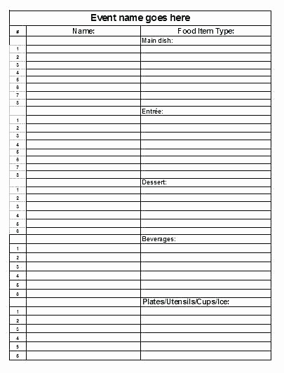 Food Sign Up Sheet New 15 Sign Up Sheet for Food