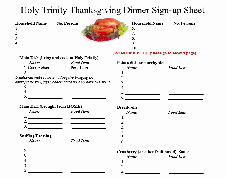 Food Sign Up Sheet New Free Sign Up Sheet Template Excel and Word Excel Tmp