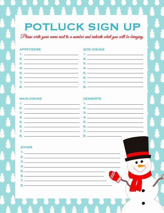 Food Sign Up Sheet Unique Freebies Printables — Fun Mittee