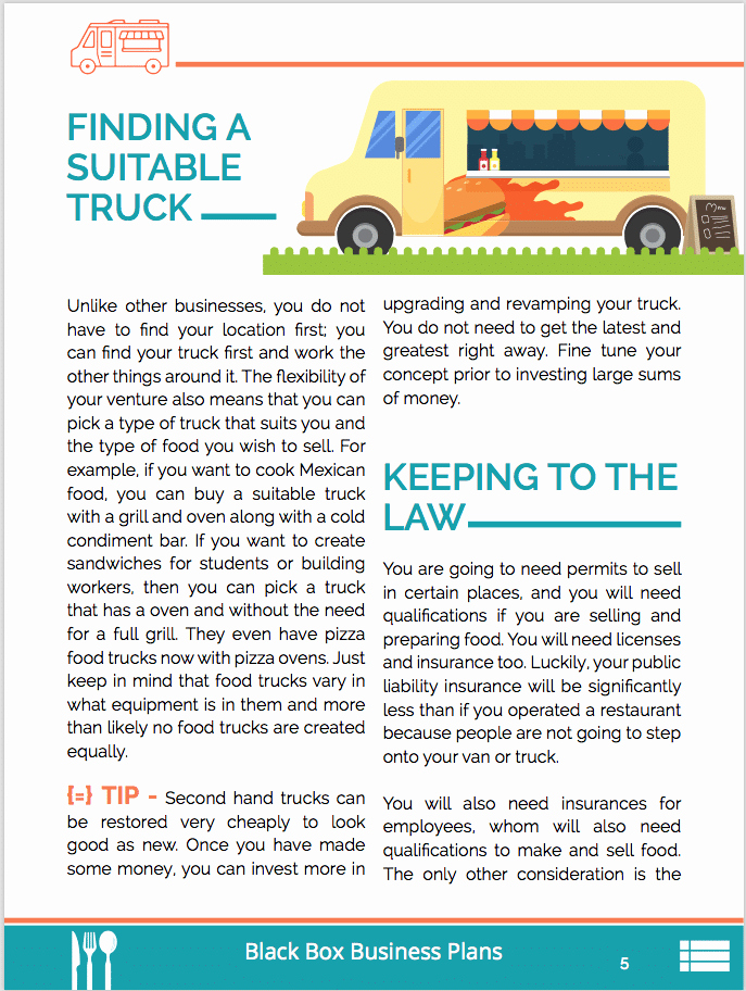 Food Truck Business Plan Sample Luxury Food Truck Business Plan Sample Pages Black Box Business