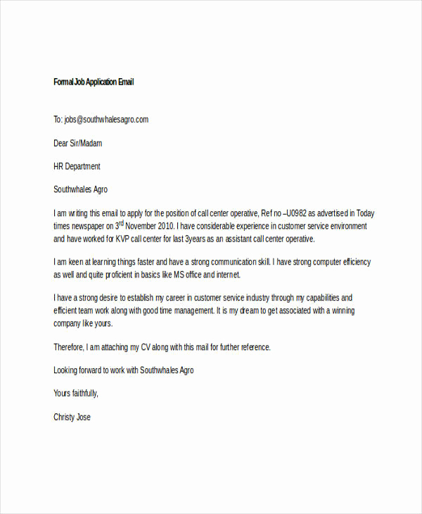 Formal E Mail Example Awesome 7 Job Application Emails Examples & Samples Pdf Doc