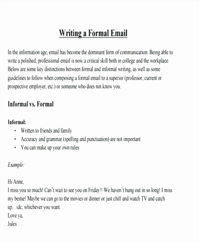 Formal E Mail Example Elegant 11 12 format to Write An Email