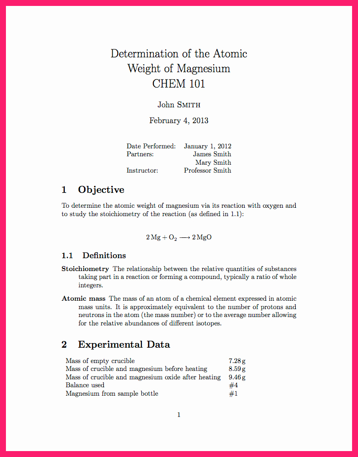 Formal Lab Report Template Awesome formal Lab Report Template