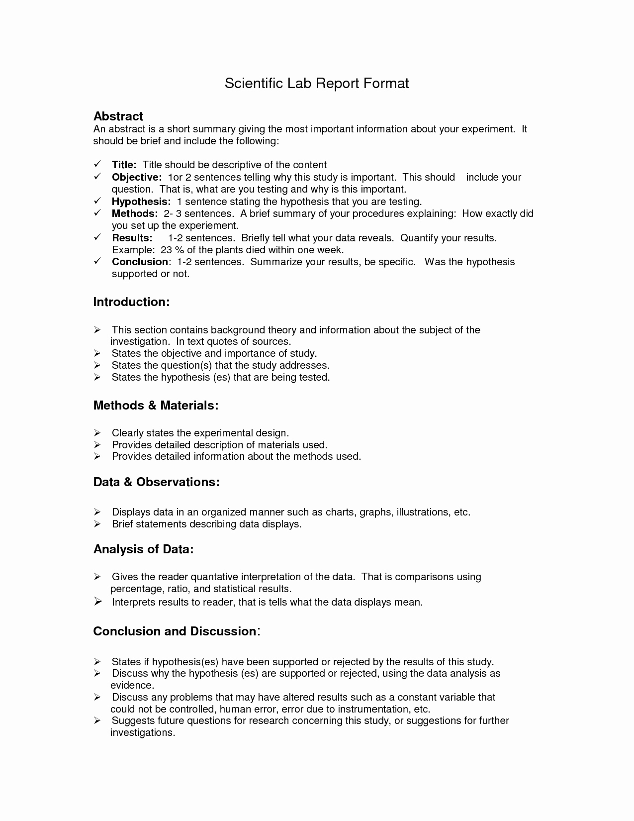 Formal Lab Report Template Fresh Lab Report format Doc