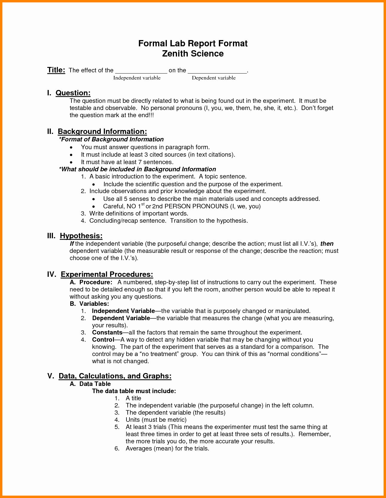 Formal Lab Report Template Inspirational Lab Report format