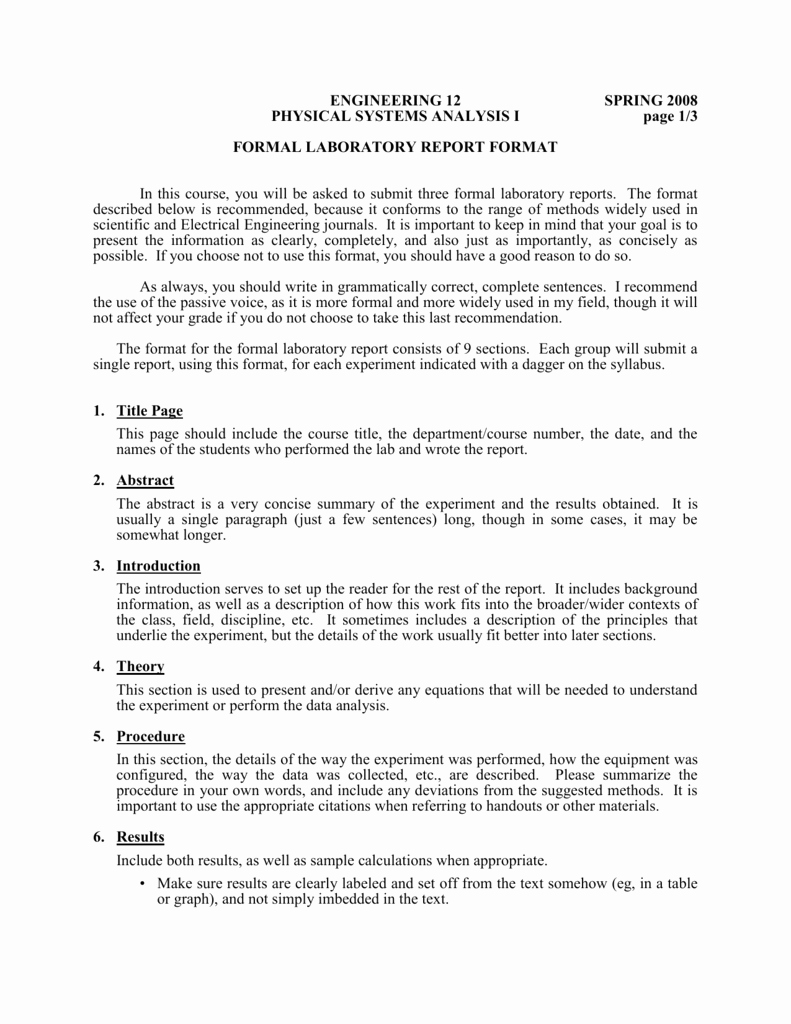 Formal Lab Report Template Lovely formal Laboratory Report format