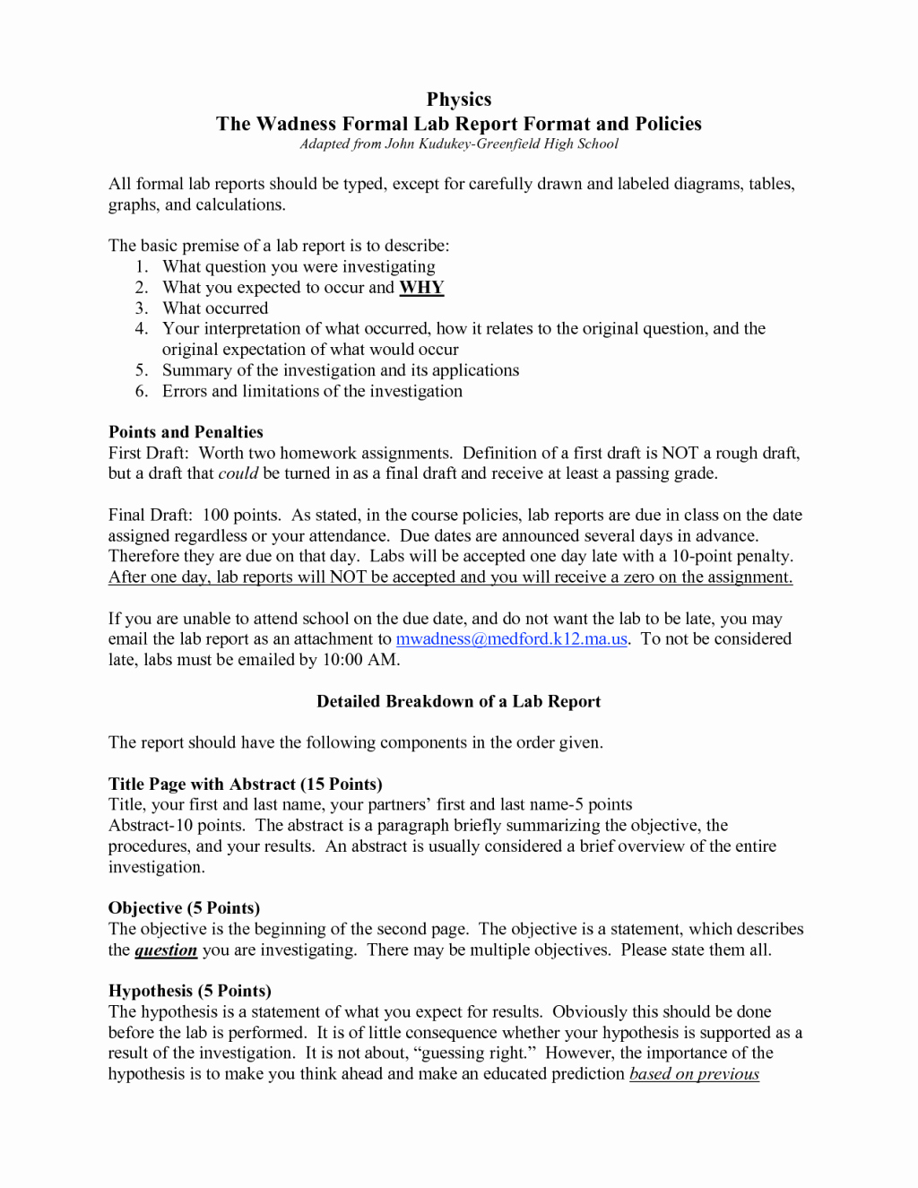 Formal Lab Report Template Luxury formal Lab Report Template Physics Biological Science